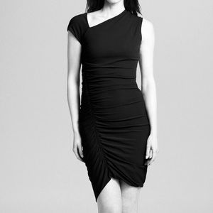 Halston Heritage Ruched Black Dress